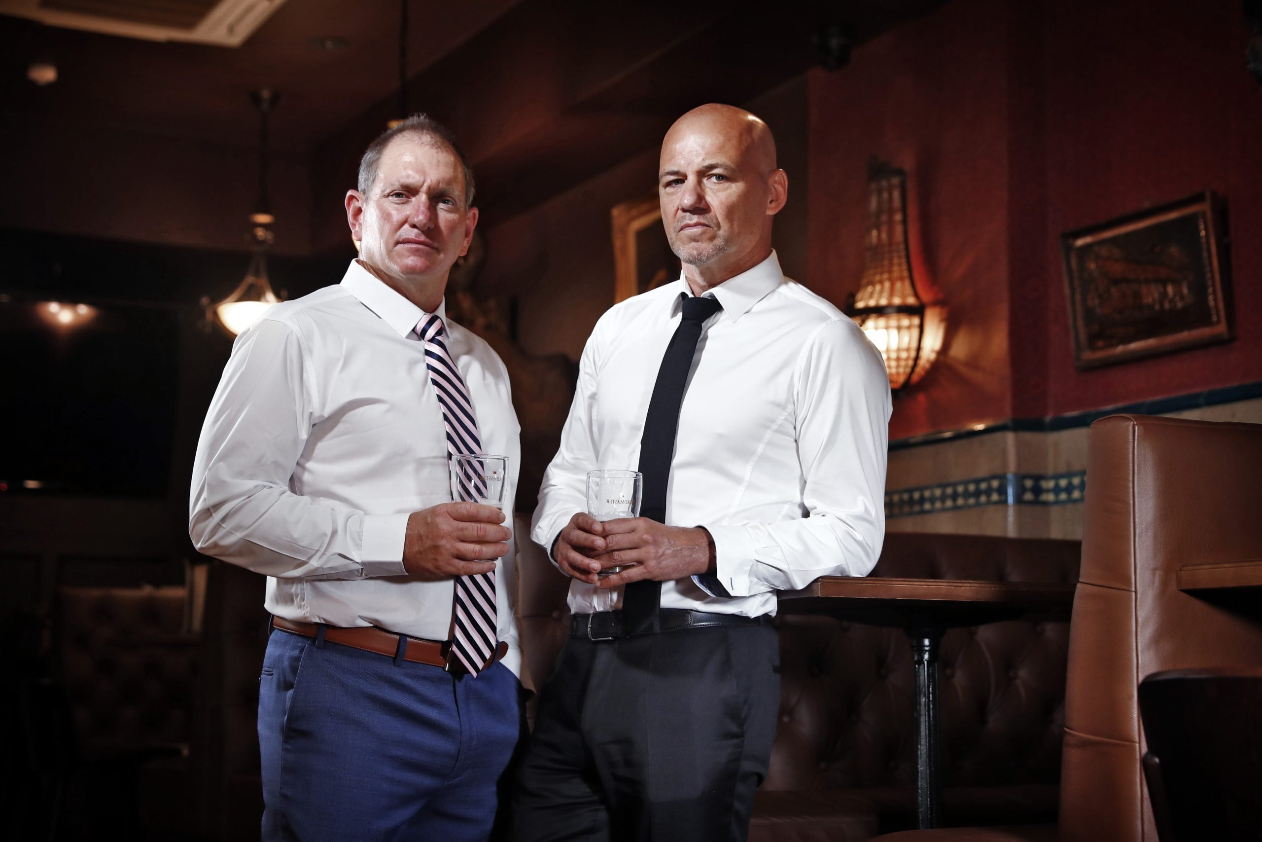 SUNDAY TELEGRAPH  - 15/11/19  ***WARNING*** MUST NOT USE BEFORE CLEARING WITH ST PIC ED JEFF DARMANIN *** IMAGE IS FOR PODCAST SERIES ****  Ex detective Gary Jubelin (right) pictured with his old partner Jason Evers at The Keg and Brew pub in Surry Hills. Picture: Sam Ruttyn