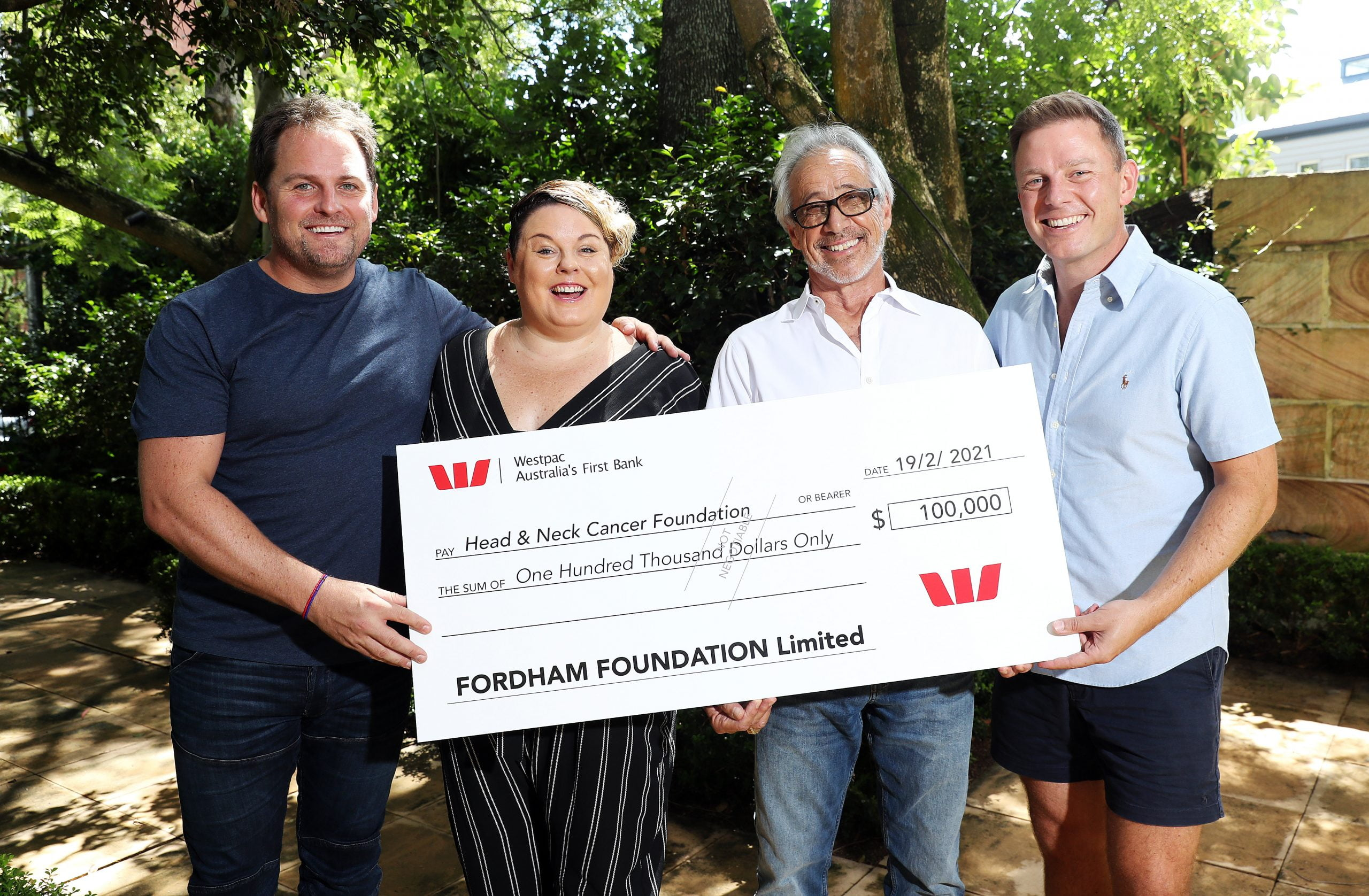 SUNDAY TELEGRAPH - Pictured in Woollahra today is Associate Professor Thomas Havas – Director & Chairman of Head & Neck Cancer Foundation, being presented with a $100,000 cheque by Nick, Ben and Sarah Fordham, raised by the FORDHAM FOUNDATION. Picture: Tim Hunter.